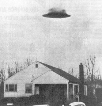 Antigravity UFO over house.
