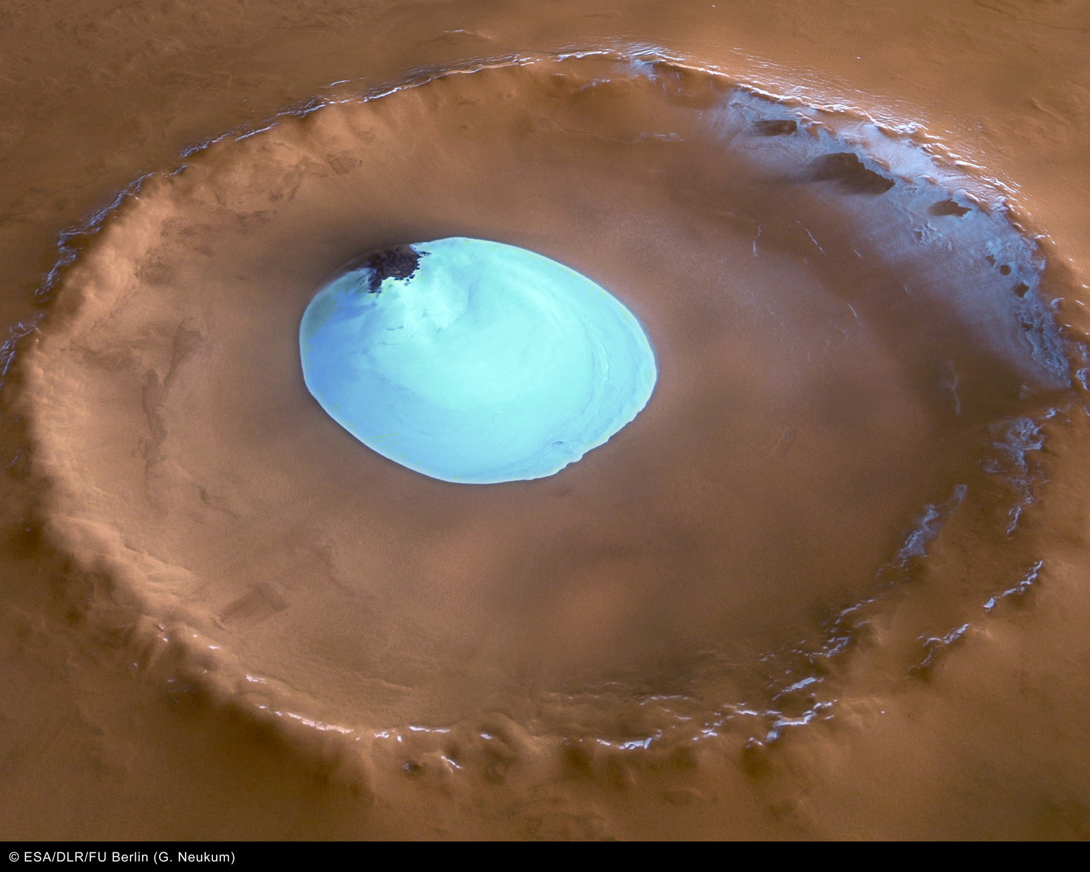 Mars Crater with Water Ice Lake.